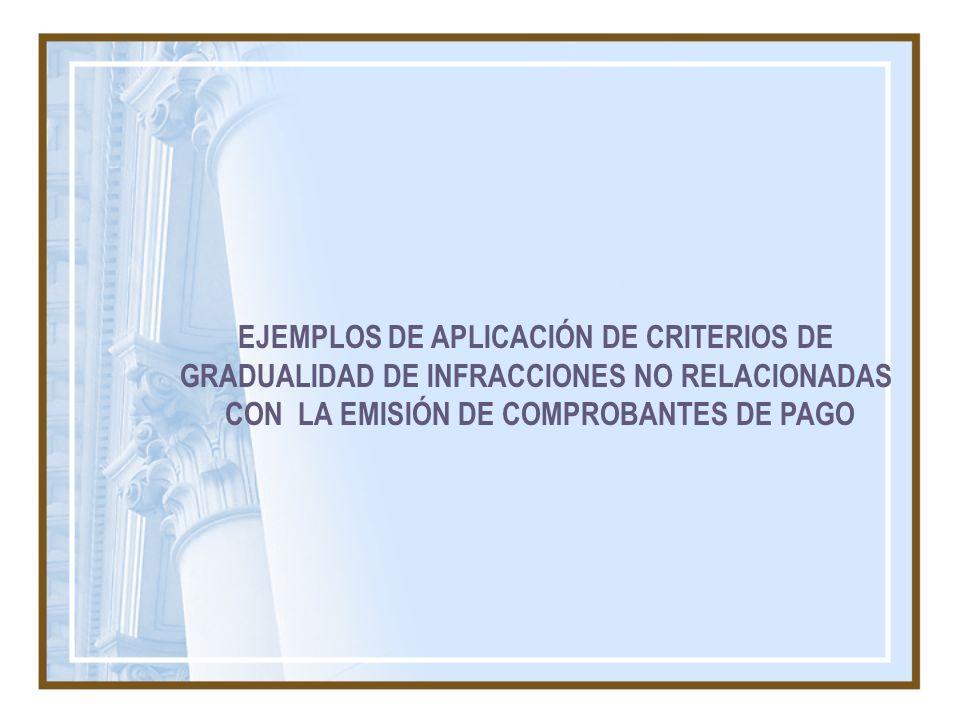 EJEMPLOS DE APLICACIÓN DE CRITERIOS DE GRADUALIDAD DE INFRACCIONES NO RELACIONADAS CON LA EMISIÓN DE COMPROBANTES DE PAGO