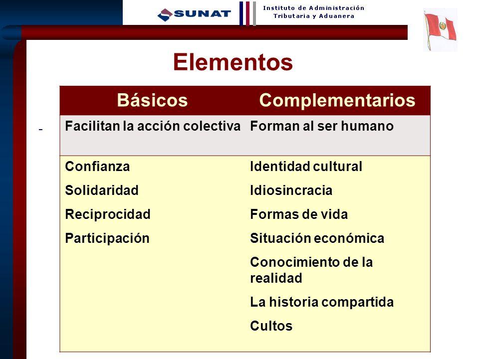 11 - Elementos BásicosComplementarios Facilitan la acción colectivaForman al ser humano Confianza Solidaridad Reciprocidad Participación Identidad cul