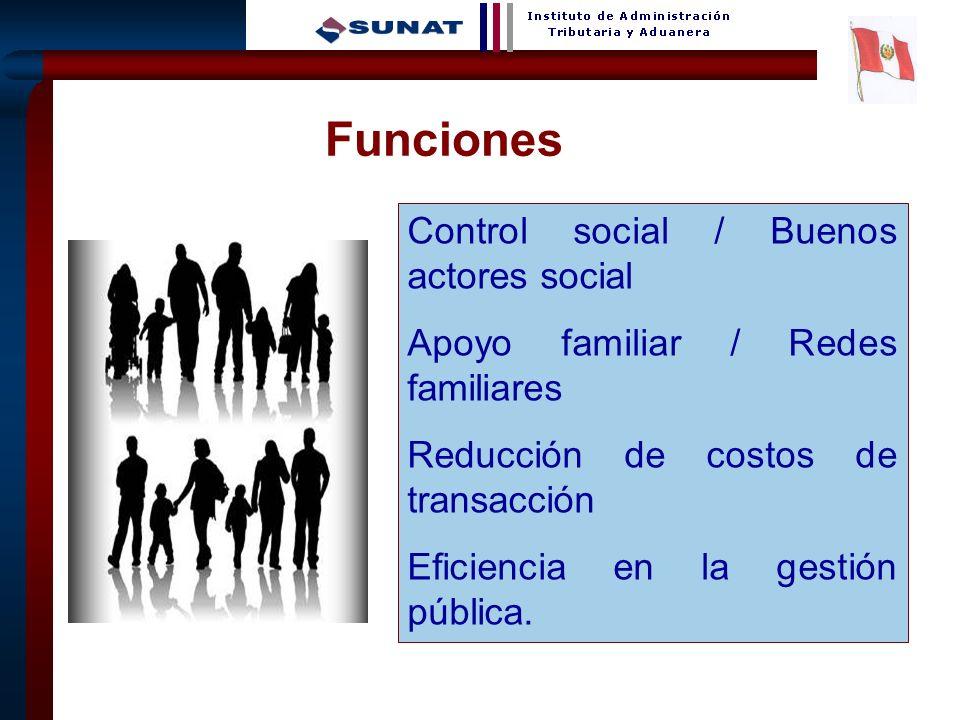 12 Funciones - Control social / Buenos actores social Apoyo familiar / Redes familiares Reducción de costos de transacción Eficiencia en la gestión pú