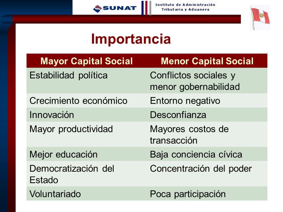 13 Importancia Mayor Capital SocialMenor Capital Social Estabilidad políticaConflictos sociales y menor gobernabilidad Crecimiento económicoEntorno ne