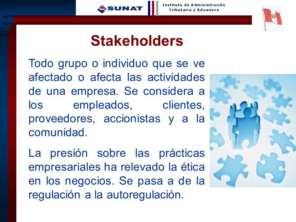 21 Stakeholders Todo grupo o individuo que se ve afectado o afecta las actividades de una empresa. Se considera a los empleados, clientes, proveedores