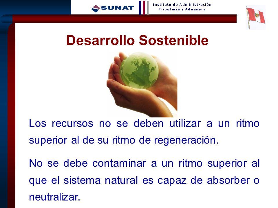 23 Desarrollo Sostenible Los recursos no se deben utilizar a un ritmo superior al de su ritmo de regeneración. No se debe contaminar a un ritmo superi
