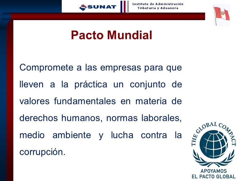 25 Pacto Mundial Compromete a las empresas para que lleven a la práctica un conjunto de valores fundamentales en materia de derechos humanos, normas l