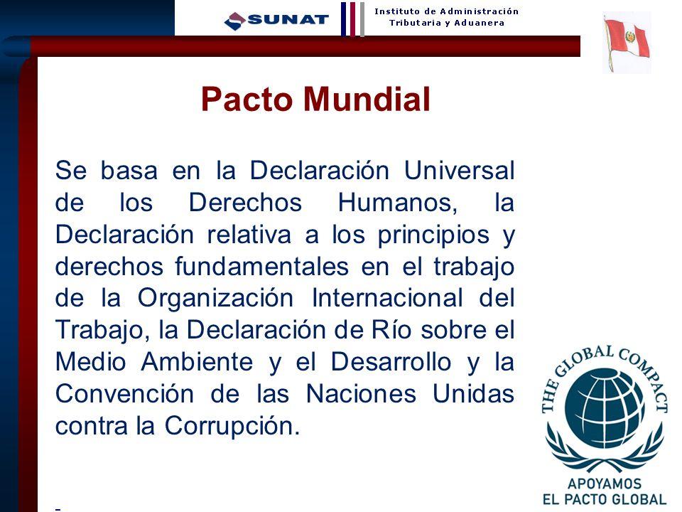 26 Pacto Mundial Se basa en la Declaración Universal de los Derechos Humanos, la Declaración relativa a los principios y derechos fundamentales en el
