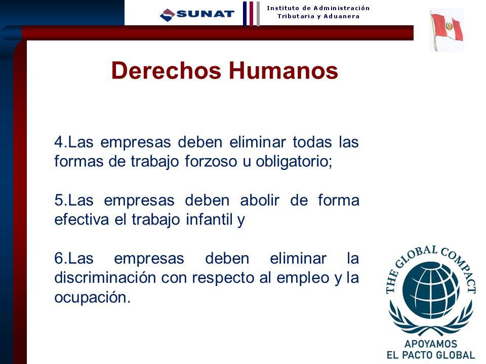 28 4.Las empresas deben eliminar todas las formas de trabajo forzoso u obligatorio; 5.Las empresas deben abolir de forma efectiva el trabajo infantil