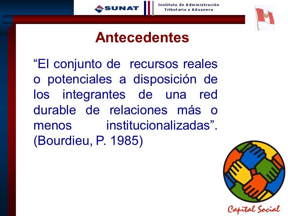 3 El conjunto de recursos reales o potenciales a disposición de los integrantes de una red durable de relaciones más o menos institucionalizadas. (Bou