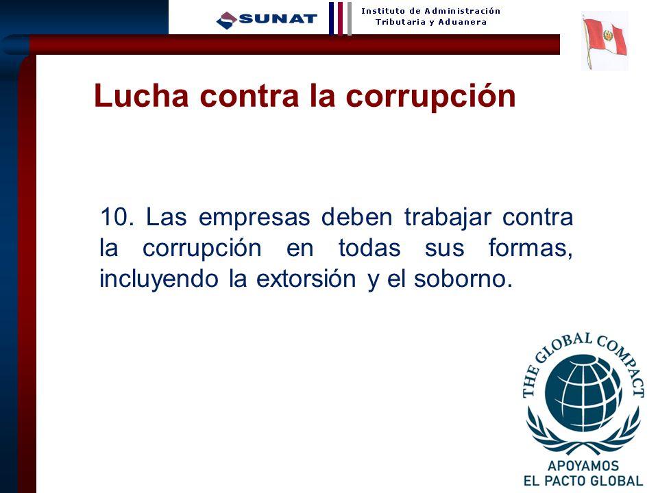 30 10. Las empresas deben trabajar contra la corrupción en todas sus formas, incluyendo la extorsión y el soborno. Lucha contra la corrupción