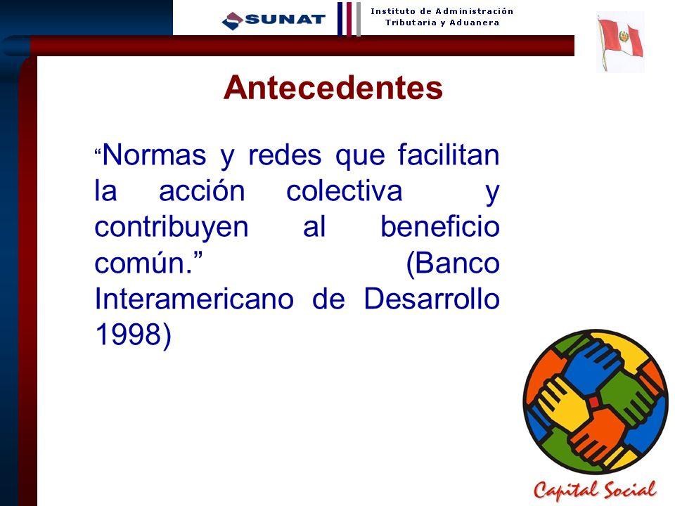 6 Normas y redes que facilitan la acción colectiva y contribuyen al beneficio común. (Banco Interamericano de Desarrollo 1998) Antecedentes