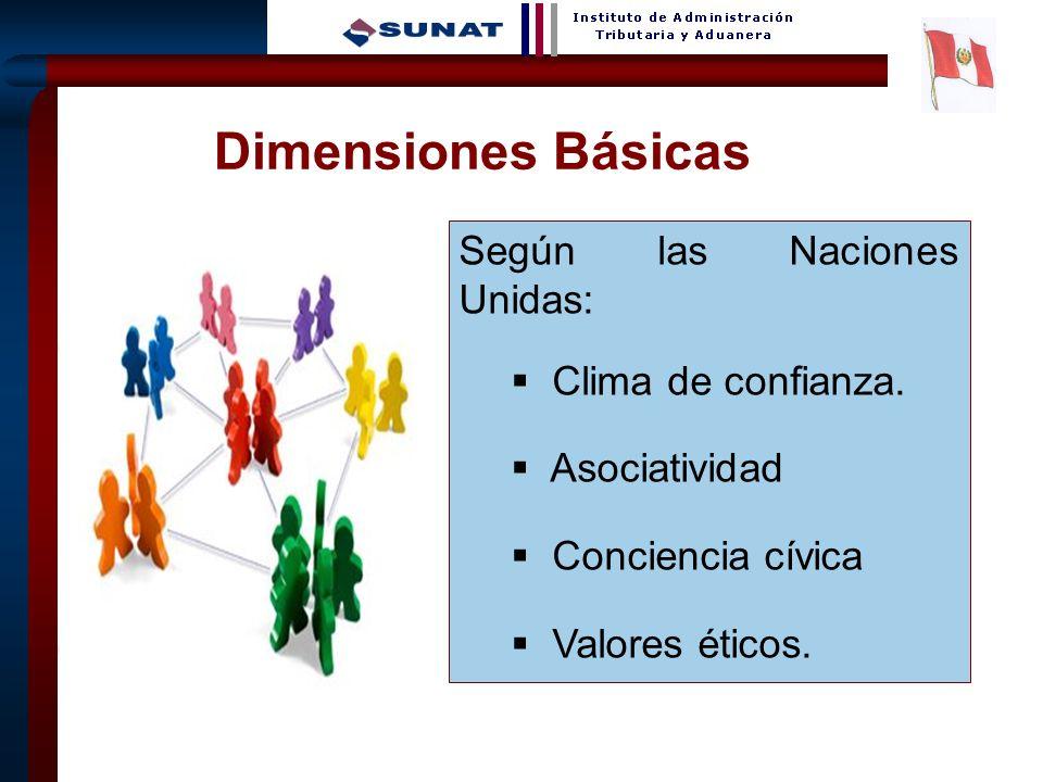 9 Dimensiones Básicas - Según las Naciones Unidas: Clima de confianza. Asociatividad Conciencia cívica Valores éticos.