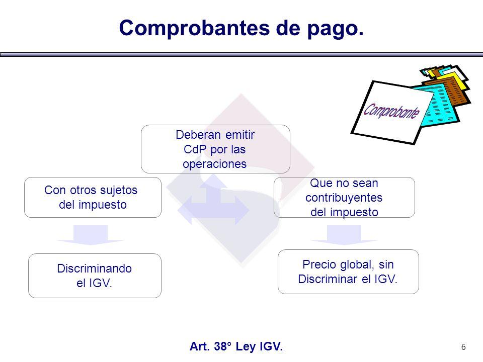 Comprobantes de pago.Art. 39° Ley IGV.