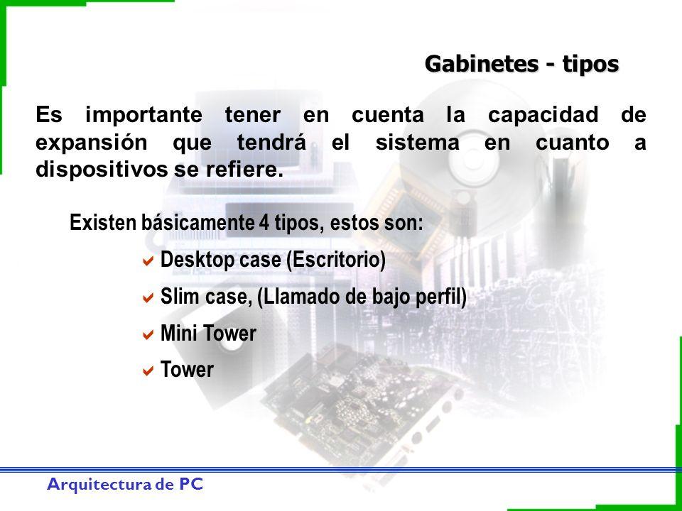 Arquitectura de PC Gabinetes - tipos Existen básicamente 4 tipos, estos son: Desktop case (Escritorio) Slim case, (Llamado de bajo perfil) Mini Tower