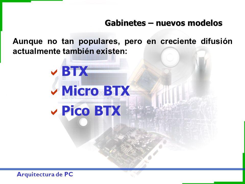 Arquitectura de PC Gabinetes – nuevos modelos BTX Micro BTX Pico BTX Aunque no tan populares, pero en creciente difusión actualmente también existen: