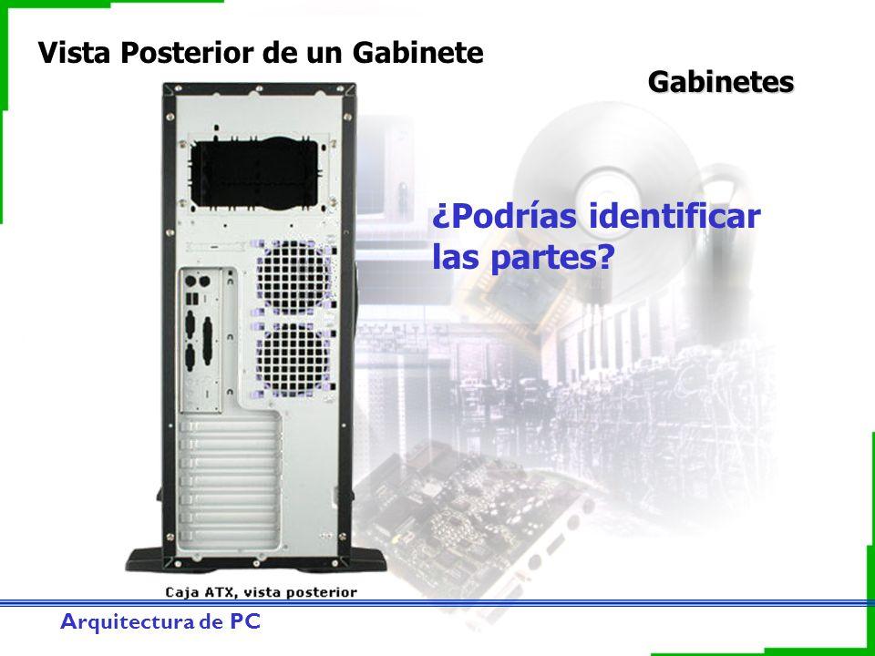 Arquitectura de PC Gabinetes Vista Posterior de un Gabinete ¿Podrías identificar las partes?