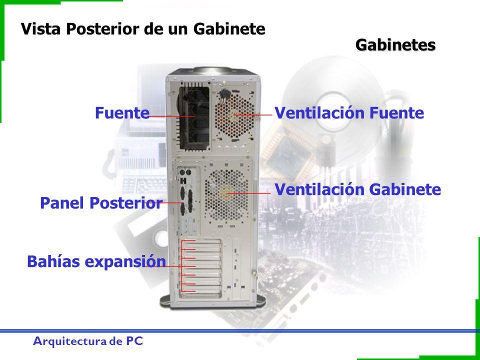 Arquitectura de PC Gabinetes Vista Posterior de un Gabinete Bahías expansión Panel Posterior Ventilación Gabinete Ventilación FuenteFuente