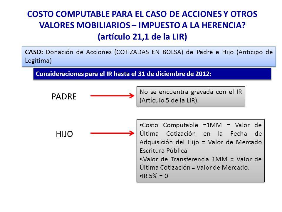 COSTO COMPUTABLE PARA EL CASO DE ACCIONES Y OTROS VALORES MOBILIARIOS – IMPUESTO A LA HERENCIA? (artículo 21,1 de la LIR) CASO: Donación de Acciones (
