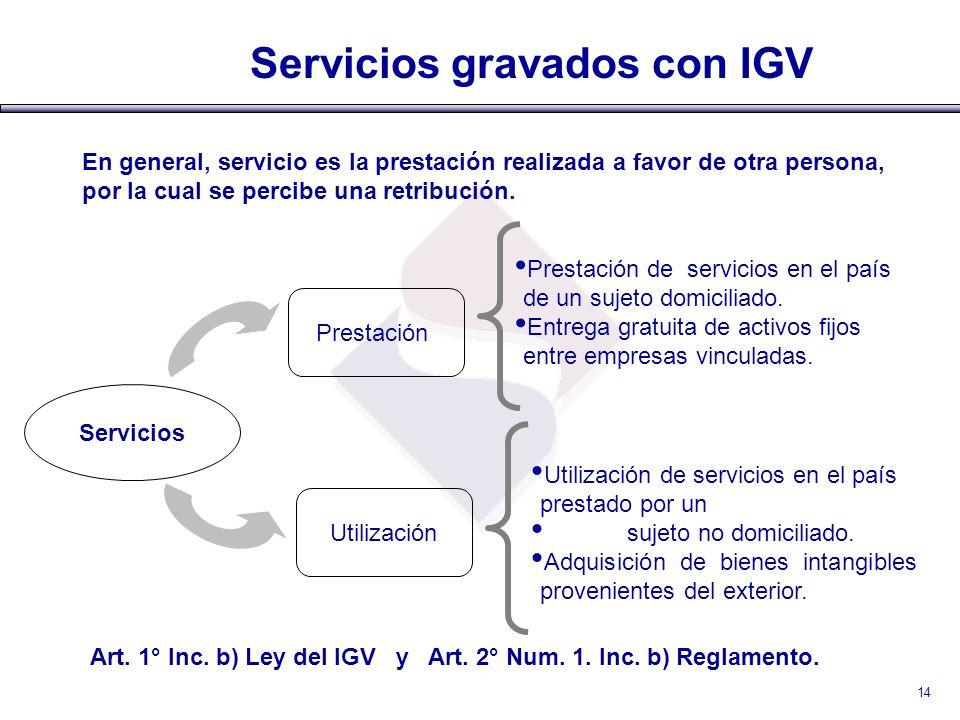 Servicios gravados con IGV Servicios Prestación Utilización Prestación de servicios en el país de un sujeto domiciliado. Entrega gratuita de activos f