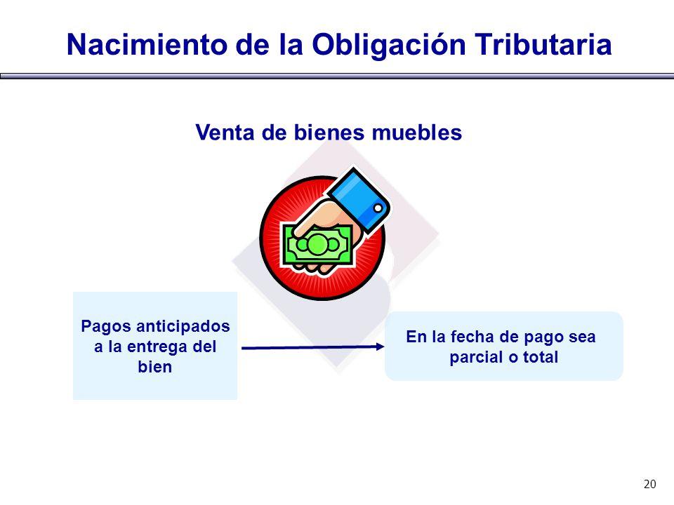 Nacimiento de la Obligación Tributaria 20 Pagos anticipados a la entrega del bien En la fecha de pago sea parcial o total Venta de bienes muebles