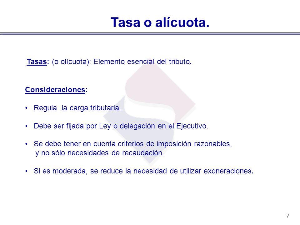 Tasa o alícuota. Tasas: (o olícuota): Elemento esencial del tributo. Consideraciones: Regula la carga tributaria. Debe ser fijada por Ley o delegación