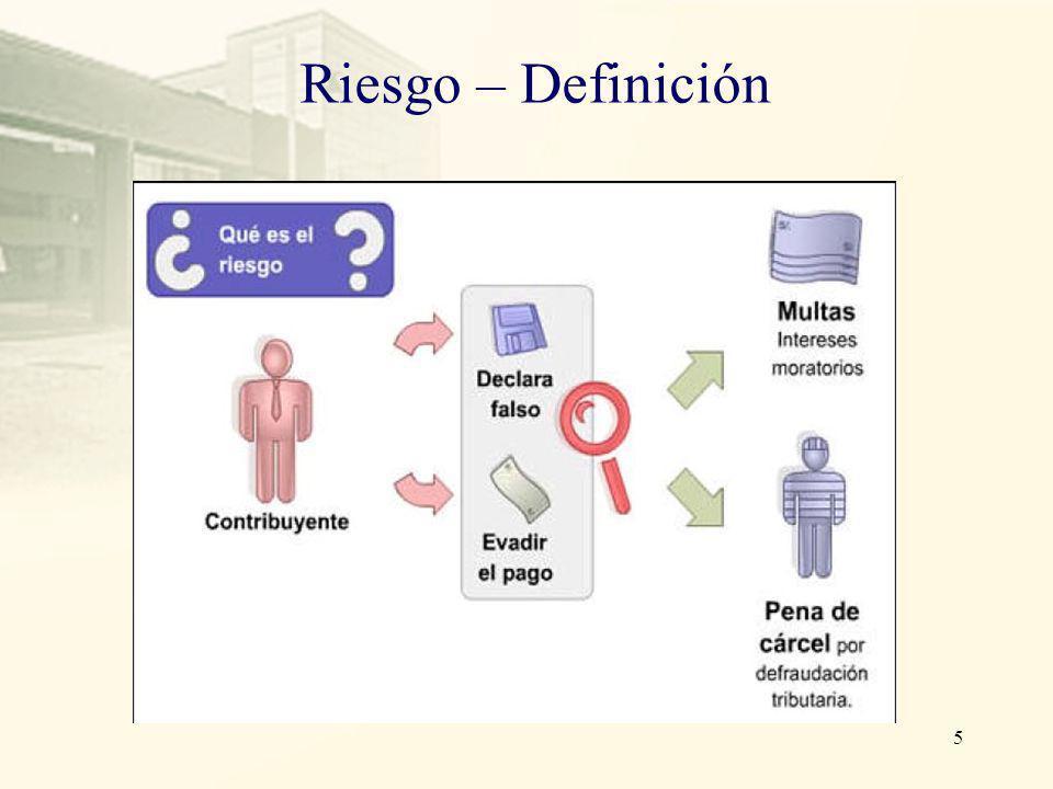 Riesgo – Definición Es la posibilidad que tiene el contribuyente de ser descubierto al realizar acciones en contra de las normas tributarias y, debe s