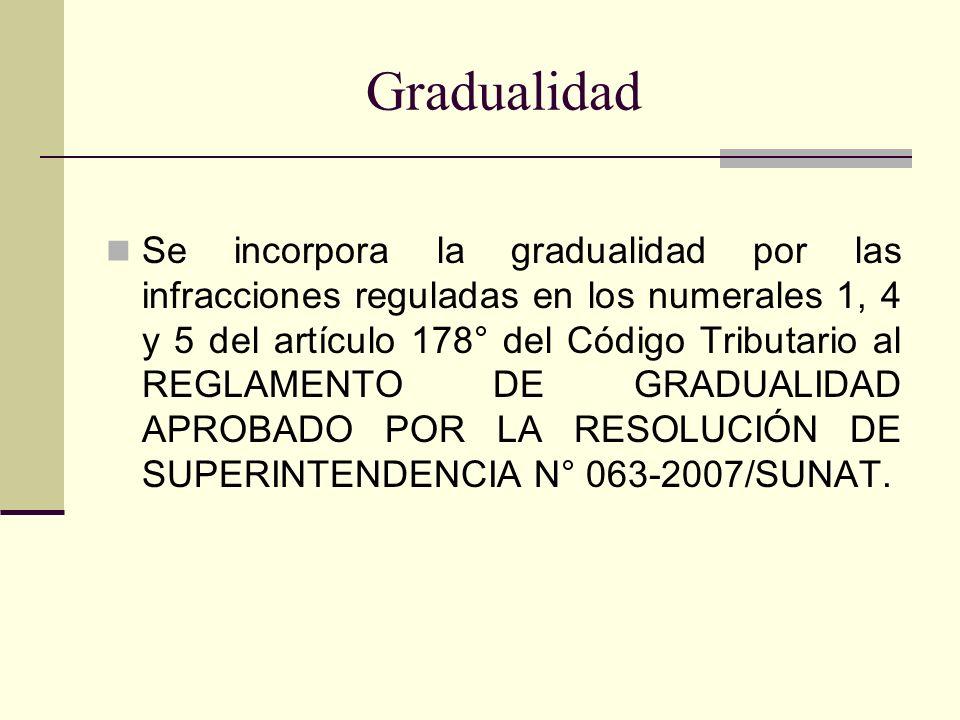 Gradualidad Se incorpora la gradualidad por las infracciones reguladas en los numerales 1, 4 y 5 del artículo 178° del Código Tributario al REGLAMENTO