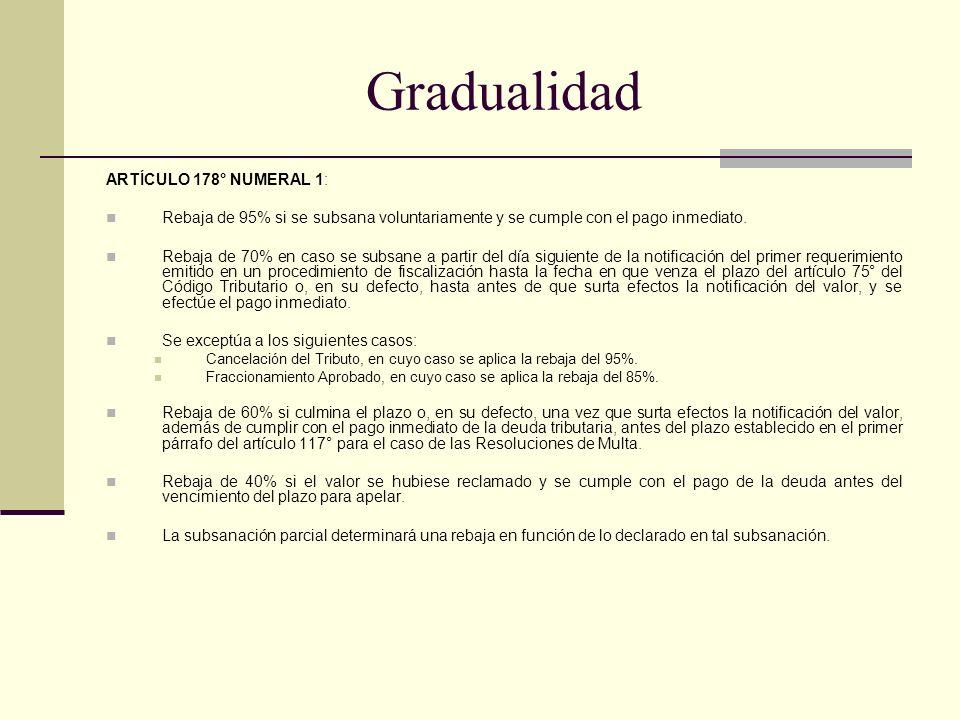 Gradualidad ARTÍCULO 178° NUMERAL 1: Rebaja de 95% si se subsana voluntariamente y se cumple con el pago inmediato. Rebaja de 70% en caso se subsane a
