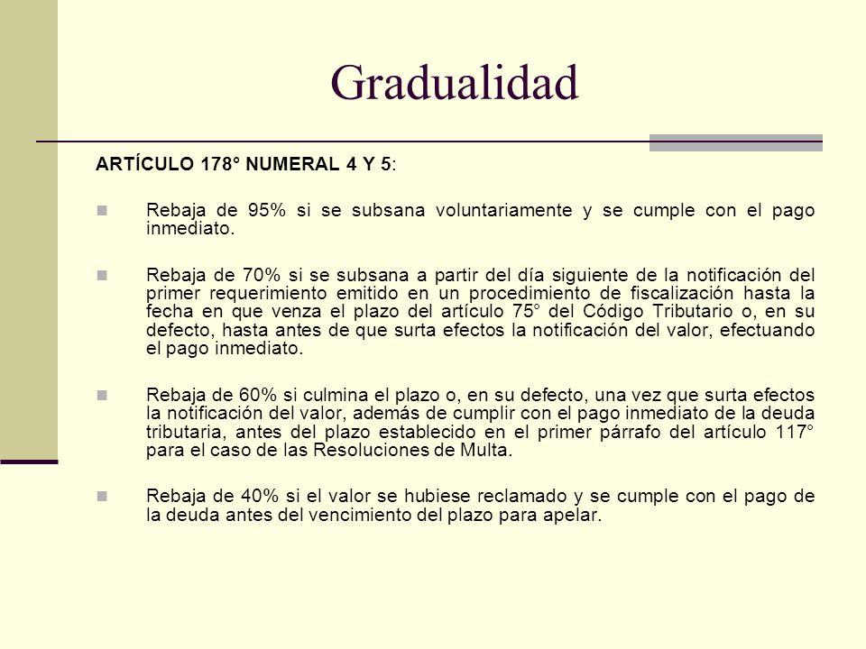 Gradualidad ARTÍCULO 178° NUMERAL 4 Y 5: Rebaja de 95% si se subsana voluntariamente y se cumple con el pago inmediato. Rebaja de 70% si se subsana a