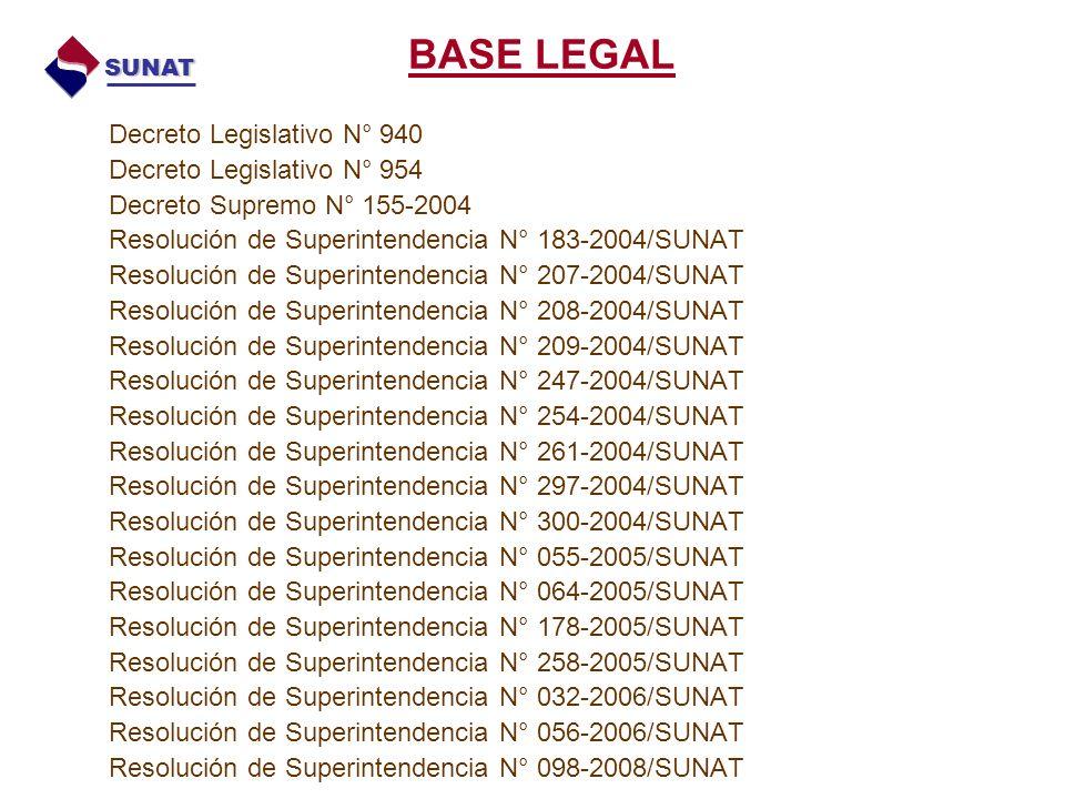 Decreto Legislativo N° 940 Decreto Legislativo N° 954 Decreto Supremo N° 155-2004 Resolución de Superintendencia N° 183-2004/SUNAT Resolución de Superintendencia N° 207-2004/SUNAT Resolución de Superintendencia N° 208-2004/SUNAT Resolución de Superintendencia N° 209-2004/SUNAT Resolución de Superintendencia N° 247-2004/SUNAT Resolución de Superintendencia N° 254-2004/SUNAT Resolución de Superintendencia N° 261-2004/SUNAT Resolución de Superintendencia N° 297-2004/SUNAT Resolución de Superintendencia N° 300-2004/SUNAT Resolución de Superintendencia N° 055-2005/SUNAT Resolución de Superintendencia N° 064-2005/SUNAT Resolución de Superintendencia N° 178-2005/SUNAT Resolución de Superintendencia N° 258-2005/SUNAT Resolución de Superintendencia N° 032-2006/SUNAT Resolución de Superintendencia N° 056-2006/SUNAT Resolución de Superintendencia N° 098-2008/SUNAT BASE LEGAL SUNAT