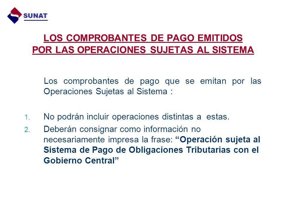 LOS COMPROBANTES DE PAGO EMITIDOS POR LAS OPERACIONES SUJETAS AL SISTEMA Los comprobantes de pago que se emitan por las Operaciones Sujetas al Sistema : 1.