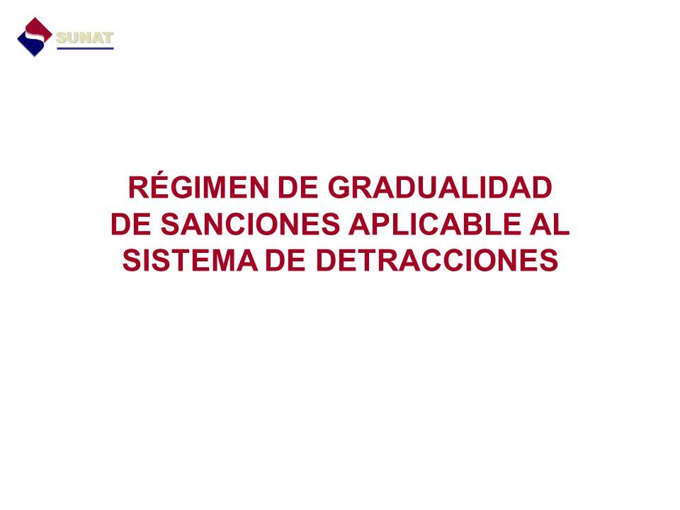 RÉGIMEN DE GRADUALIDAD DE SANCIONES APLICABLE AL SISTEMA DE DETRACCIONES SUNAT