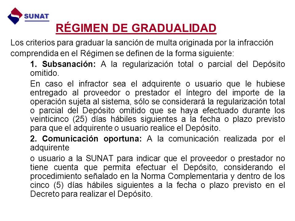 RÉGIMEN DE GRADUALIDAD Los criterios para graduar la sanción de multa originada por la infracción comprendida en el Régimen se definen de la forma siguiente: 1.