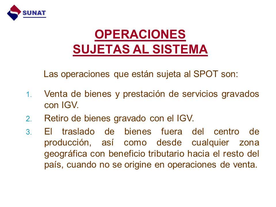 OPERACIONES SUJETAS AL SISTEMA Las operaciones que están sujeta al SPOT son: 1.