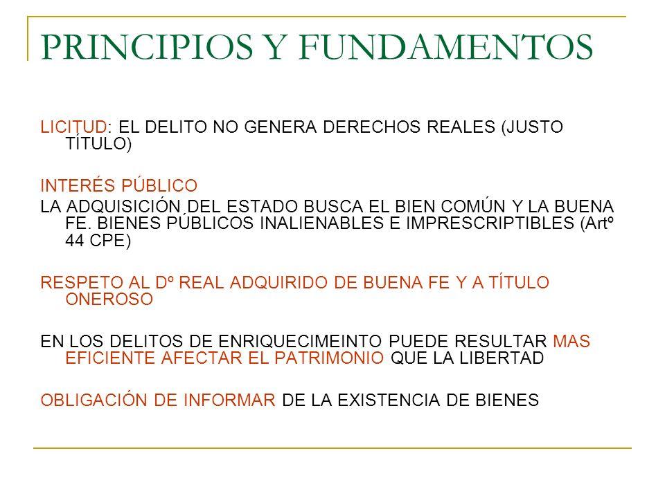 PRINCIPIOS Y FUNDAMENTOS LICITUD: EL DELITO NO GENERA DERECHOS REALES (JUSTO TÍTULO) INTERÉS PÚBLICO LA ADQUISICIÓN DEL ESTADO BUSCA EL BIEN COMÚN Y LA BUENA FE.