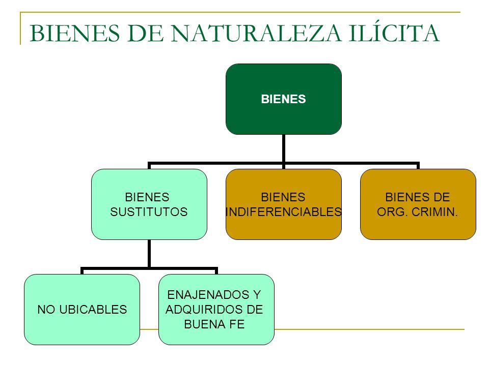 BIENES DE NATURALEZA ILÍCITA BIENES SUSTITUTOS NO UBICABLES ENAJENADOS Y ADQUIRIDOS DE BUENA FE BIENES INDIFERENCIABLES BIENES DE ORG.