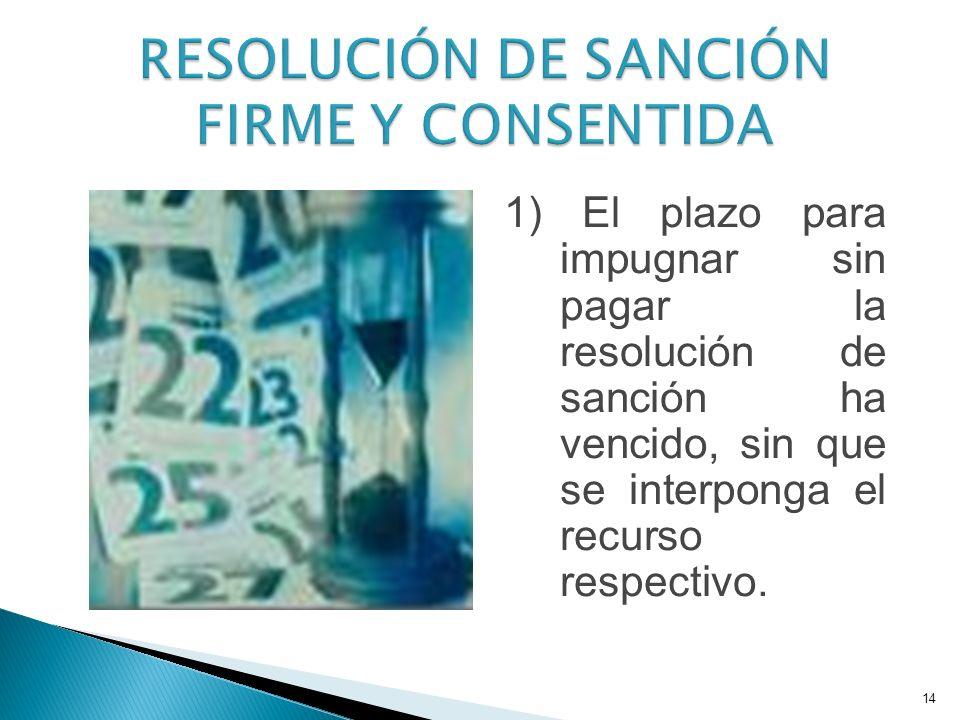 1) El plazo para impugnar sin pagar la resolución de sanción ha vencido, sin que se interponga el recurso respectivo.
