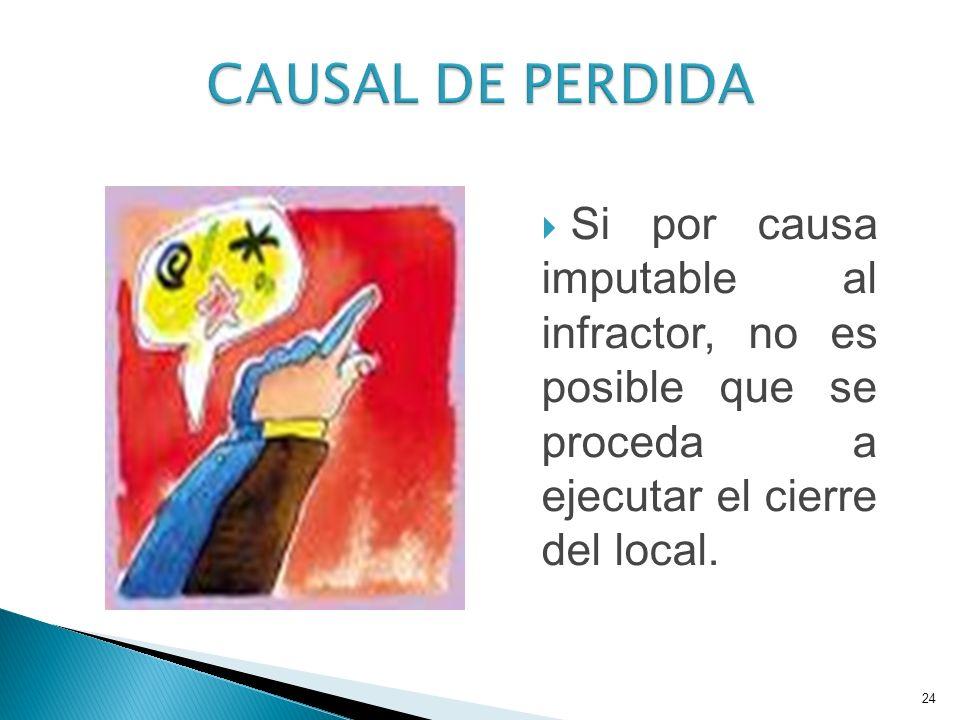 Si por causa imputable al infractor, no es posible que se proceda a ejecutar el cierre del local.
