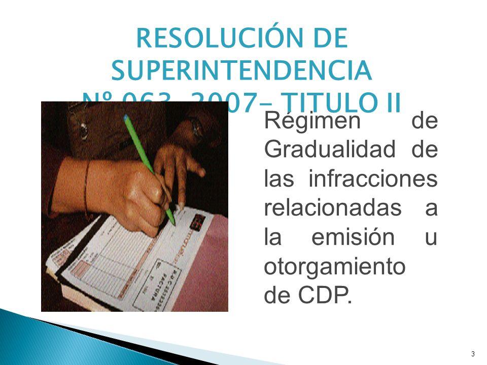 3 Régimen de Gradualidad de las infracciones relacionadas a la emisión u otorgamiento de CDP. RESOLUCIÓN DE SUPERINTENDENCIA Nº 063-2007- TITULO II