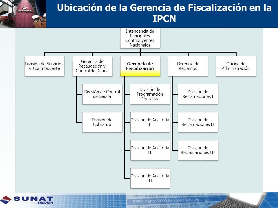 Ubicación de la Gerencia de Fiscalización en la IPCN Intendencia de Principales Contribuyentes Nacionales División de Servicios al Contribuyente Gerencia de Recaudación y Control de Deuda División de Control de Deuda División de Cobranza Gerencia de Fiscalización División de Programación Operativa División de Auditoría I División de Auditoría II División de Auditoría III Gerencia de Reclamos División de Reclamaciones I División de Reclamaciones II División de Reclamaciones III Oficina de Administración