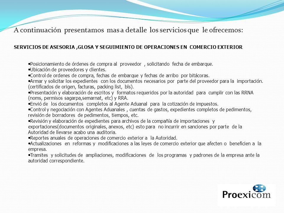 A continuación presentamos mas a detalle los servicios que le ofrecemos: SERVICIOS DE ASESORIA,GLOSA Y SEGUIMIENTO DE OPERACIONES EN COMERCIO EXTERIOR