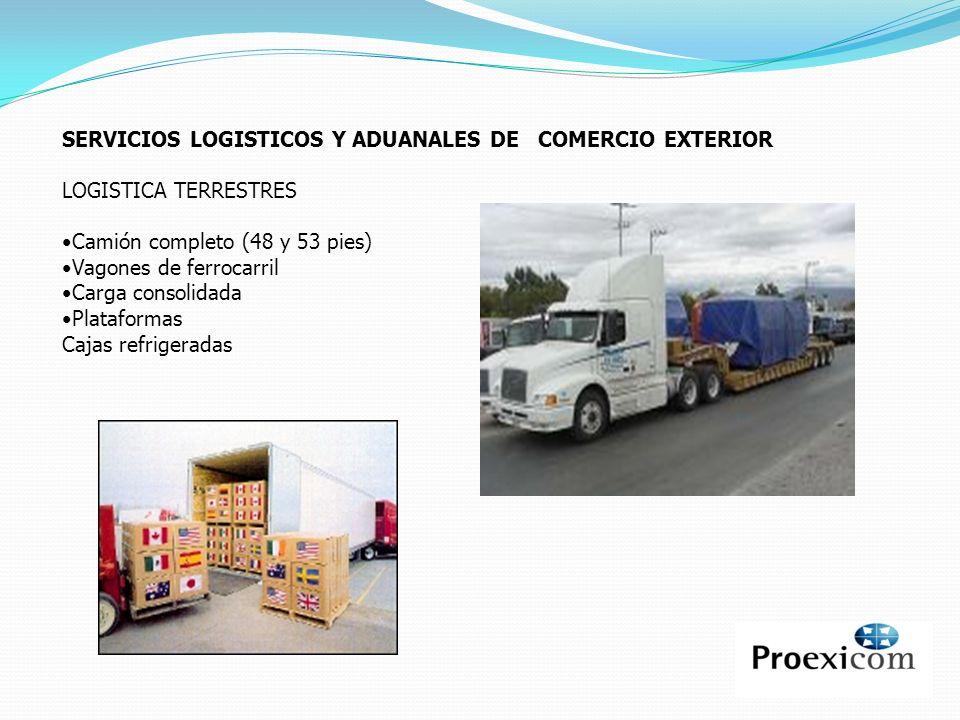 SERVICIOS LOGISTICOS Y ADUANALES DE COMERCIO EXTERIOR LOGISTICA TERRESTRES Camión completo (48 y 53 pies) Vagones de ferrocarril Carga consolidada Pla