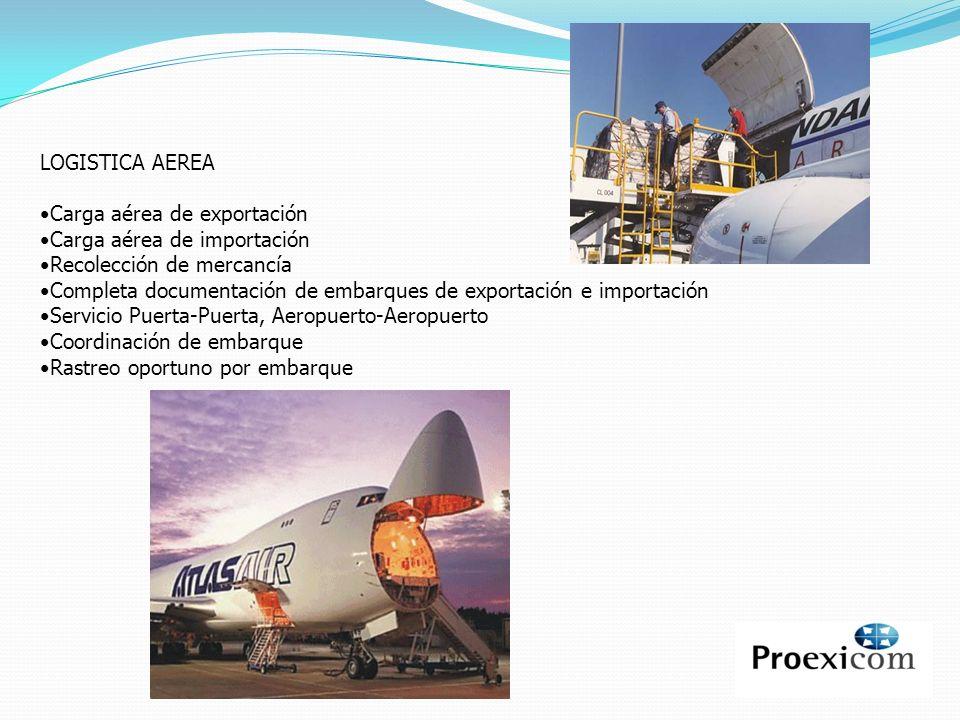 LOGISTICA AEREA Carga aérea de exportación Carga aérea de importación Recolección de mercancía Completa documentación de embarques de exportación e im