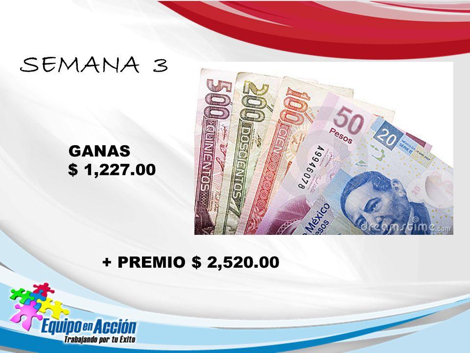 SEMANA 3 GANAS $ 1,227.00 + PREMIO $ 2,520.00