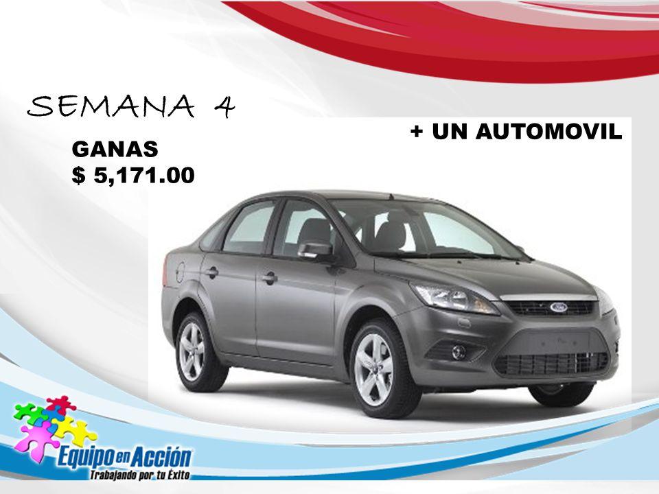 SEMANA 4 GANAS $ 5,171.00 + UN AUTOMOVIL