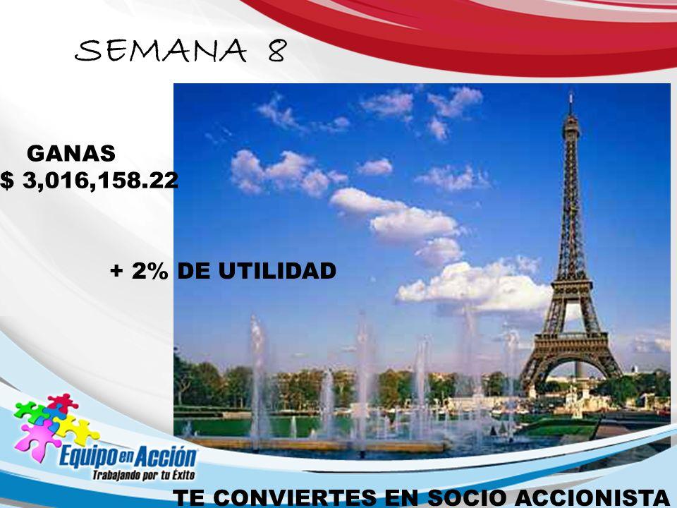 SEMANA 8 GANAS $ 3,016,158.22 + 2% DE UTILIDAD TE CONVIERTES EN SOCIO ACCIONISTA