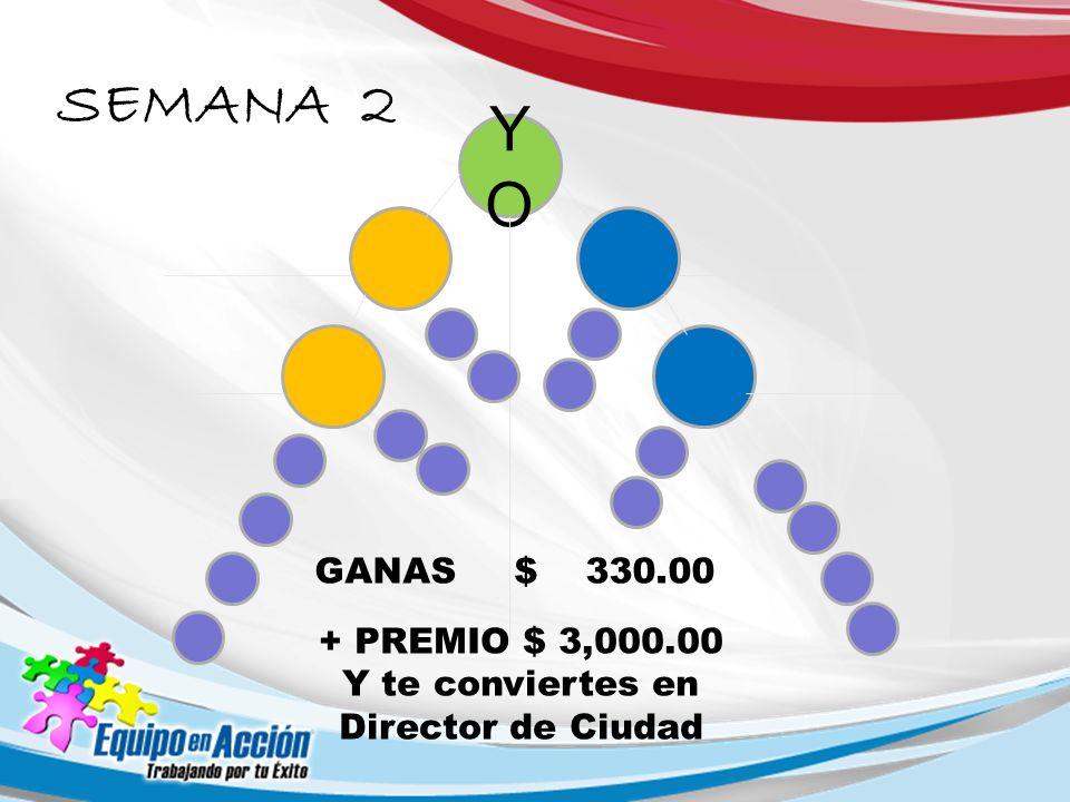 YOYO GANAS $ 330.00 SEMANA 2 + PREMIO $ 3,000.00 Y te conviertes en Director de Ciudad