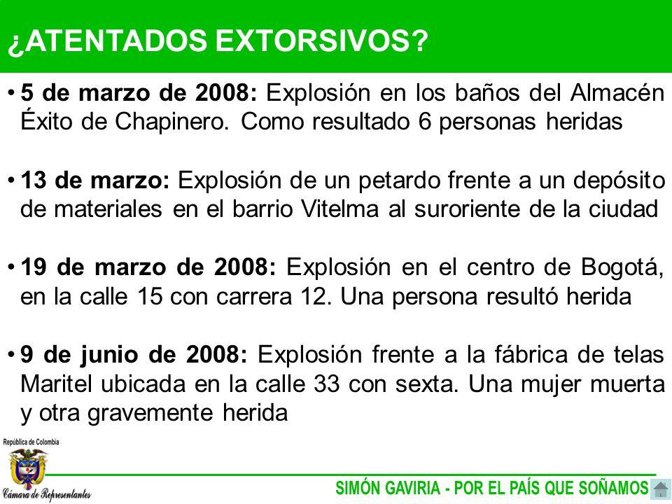 ¿ATENTADOS EXTORSIVOS. 5 de marzo de 2008: Explosión en los baños del Almacén Éxito de Chapinero.