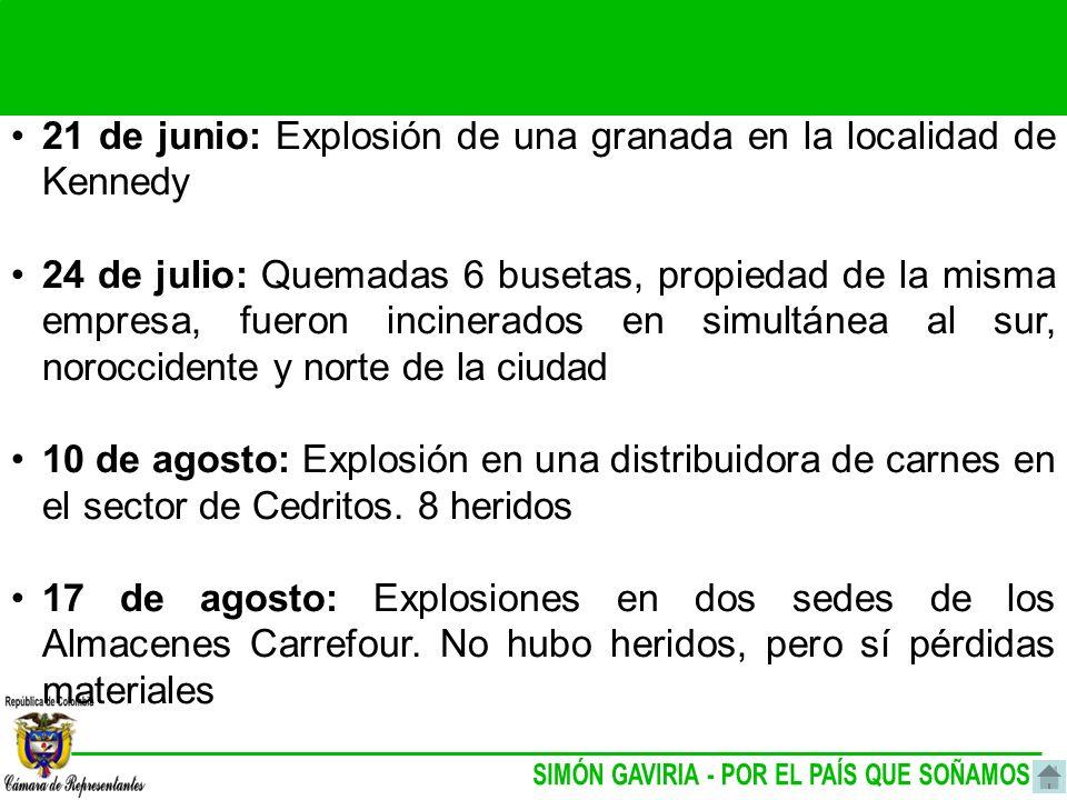 21 de junio: Explosión de una granada en la localidad de Kennedy 24 de julio: Quemadas 6 busetas, propiedad de la misma empresa, fueron incinerados en simultánea al sur, noroccidente y norte de la ciudad 10 de agosto: Explosión en una distribuidora de carnes en el sector de Cedritos.