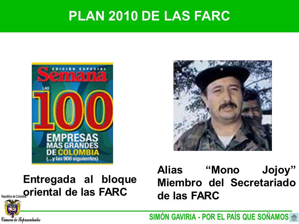 PLAN 2010 DE LAS FARC Alias Mono Jojoy Miembro del Secretariado de las FARC Entregada al bloque oriental de las FARC