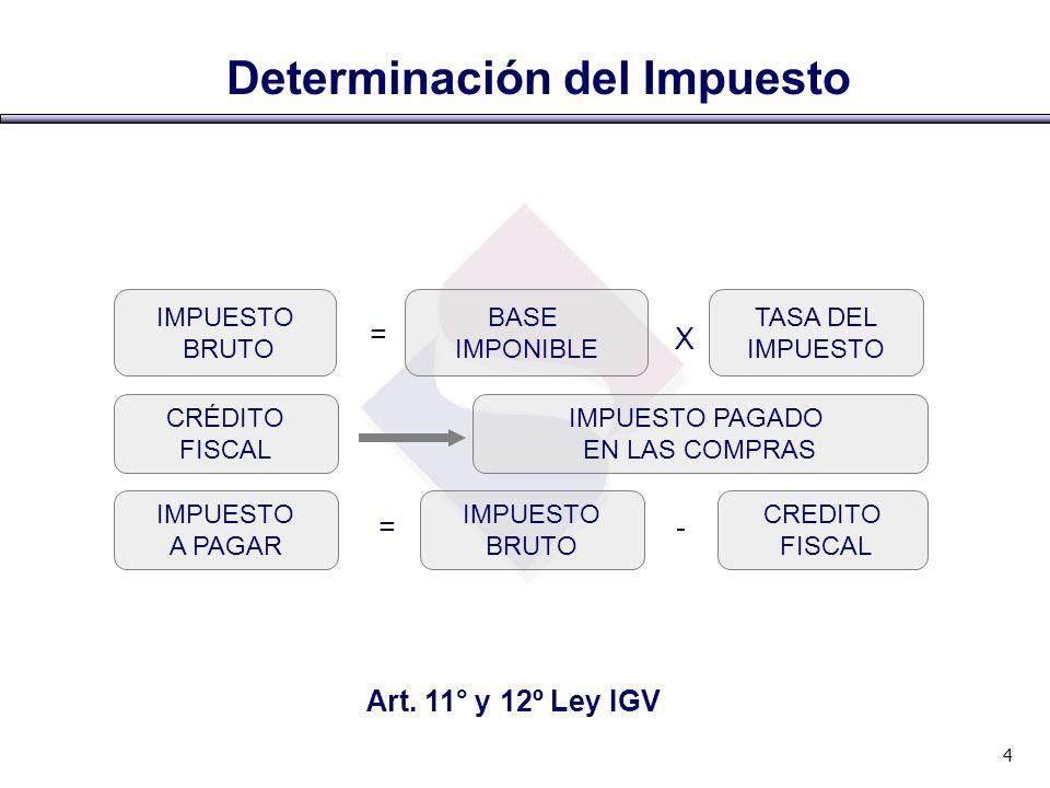 Base Imponible en la Legislación Peruana En la venta de bienesValor de venta En la prestación o utilización de servicios.