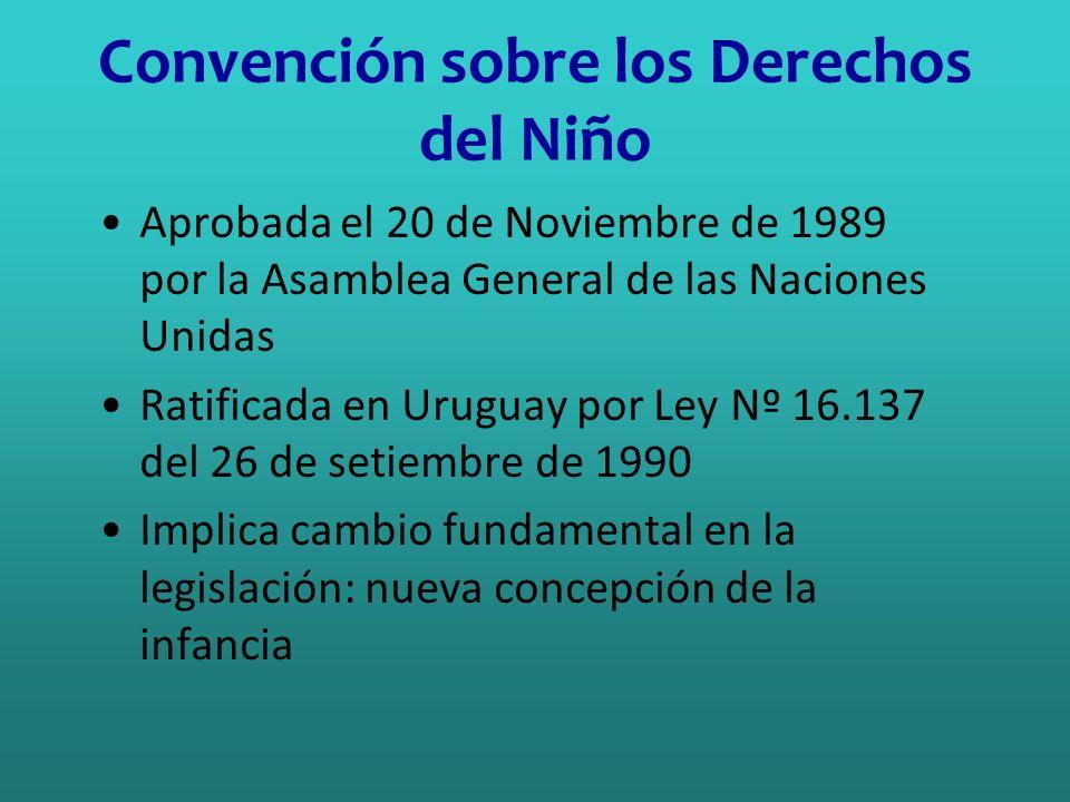 Convención sobre los Derechos del Niño Aprobada el 20 de Noviembre de 1989 por la Asamblea General de las Naciones Unidas Ratificada en Uruguay por Le