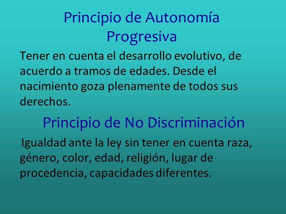 Principio de Autonomía Progresiva Tener en cuenta el desarrollo evolutivo, de acuerdo a tramos de edades. Desde el nacimiento goza plenamente de todos